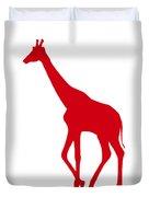 Giraffe In Red And White Duvet Cover