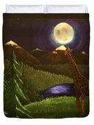 Giraffe In The Moonlight Duvet Cover