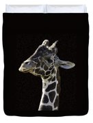 Giraffe In The Morning Pixelated Duvet Cover