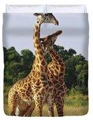 Giraffe Males Sparring Masai Mara Kenya Duvet Cover