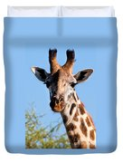 Giraffe Portrait Close-up. Safari In Serengeti. Duvet Cover