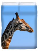 Giraffe Portrait Close-up. Safari In Serengeti. Tanzania Duvet Cover