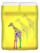 Giraffe X 3 - Yellow Duvet Cover