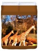 Giraffes At The Zoo Duvet Cover
