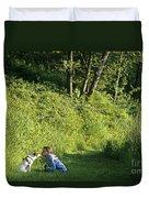 Girl And Dog On Trail Duvet Cover