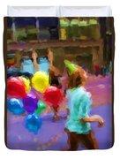 Girl And Her Balloons Duvet Cover