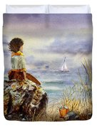 Girl And The Ocean Sitting On The Rock Duvet Cover