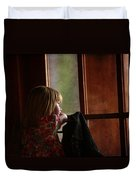 Girl At The Window Duvet Cover