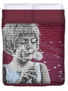 Girl Blowing A Dandelion Duvet Cover