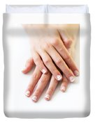 Girl Hands Duvet Cover by Carlos Caetano
