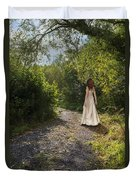 Girl In Country Lane Duvet Cover