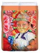 Girl In Flowers Duvet Cover
