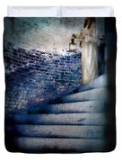 Girl In Nightgown On Circular Stone Steps Duvet Cover