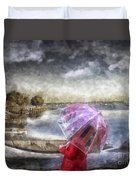 Girl In Red Coat Duvet Cover