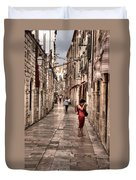 Girl In Red In The White Streets Of Dubrovnik Duvet Cover