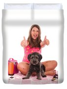 Girl In Swimsuit At The Beach Showing Thumbs Up Duvet Cover