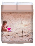 Girl In The Sand Duvet Cover