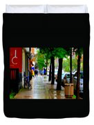 Girl In The Yellow Raincoat Rainy Stroll Through Streets Of The City Montreal Scenes Carole  Duvet Cover