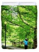 Girl Jogging With Dog Duvet Cover