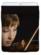 Girl Musician And Violin Or Viola Photograph Color 3361.02 Duvet Cover