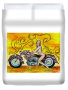 Girl On A Motorcycle Duvet Cover