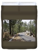 Girl On A Mountain Highway Road Duvet Cover