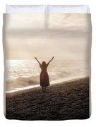 Girl On Beach Duvet Cover by Joana Kruse