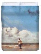 Girl On Beach Duvet Cover