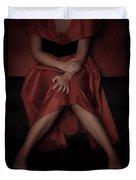 Girl On Black Sofa Duvet Cover