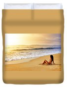 Girl On Seashore  Duvet Cover