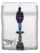 Girl On Stone Duvet Cover