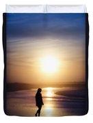 Girl On The Beach At Sunrise Duvet Cover