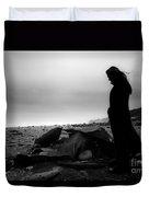 Girl On The Beach Duvet Cover
