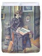 Girl Reading A Book Duvet Cover