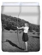 Girl Scout With Bow And Arrow Duvet Cover