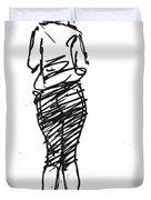 Girl Sketch Duvet Cover