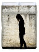 Girl Walking In Front Of Cement Wall Duvet Cover