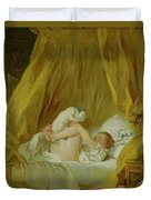 Girl With A Dog Duvet Cover by Jean Honore Fragonard