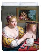 Girl With A Mirror, An Allegory Duvet Cover