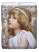 Girl With Apple Blossom Duvet Cover by Henry Ryland