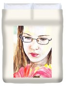 Girl With Flowers Duvet Cover