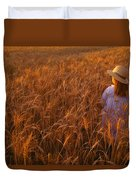 Girl With Hat In Field Duvet Cover