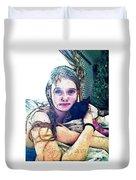 Girl With Her Black Cat Duvet Cover