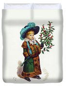 Girl With Holly Duvet Cover