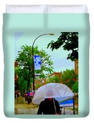Girl With Large Umbrella Its Raining Its Pouring April Showers Montreal Scenes Carole Spandau Art Duvet Cover