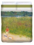 Girl Walking Dog Duvet Cover