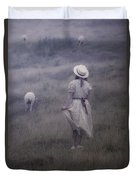 Girl With Sheeps Duvet Cover by Joana Kruse