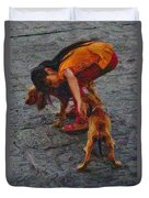 Girl With Two Dogs Duvet Cover
