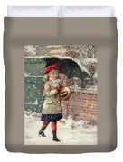 Girl With Umbrella In A Snow Shower Duvet Cover