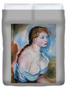 Girl With With Daisies Renoir Duvet Cover